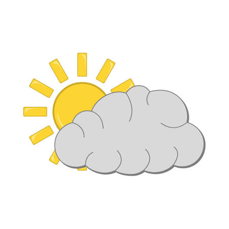 Sun with Cloud Icon. Weather label for Web on white background. Cartoon Vector Illustration.