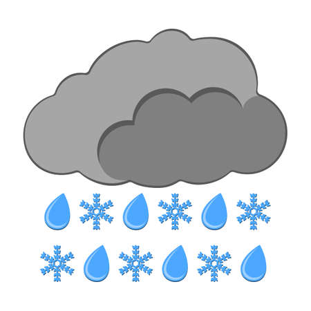 Rain with Snow Icon. Weather label for Web on white background. Cartoon Vector Illustration.