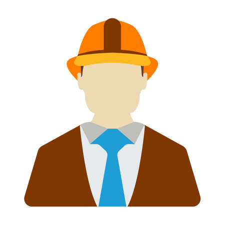 Engineer Icon. Energy label for Web on white background. Flat Vector Illustration.