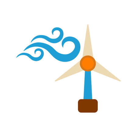 Windmill Icon. Energy label for Web on white background.