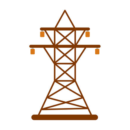 Electric tower Icon. Energy label for Web on white background. Flat Vector Illustration.