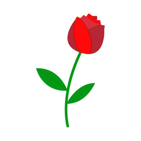 Rose Icon. Love and Gifts for Web on white background. Flat Vector Illustration.