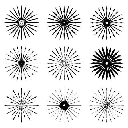 Big set of Retro Sun burst shapes. Vintage logo, labels, badges. Vector design element isolated. Minimal black firework burst.