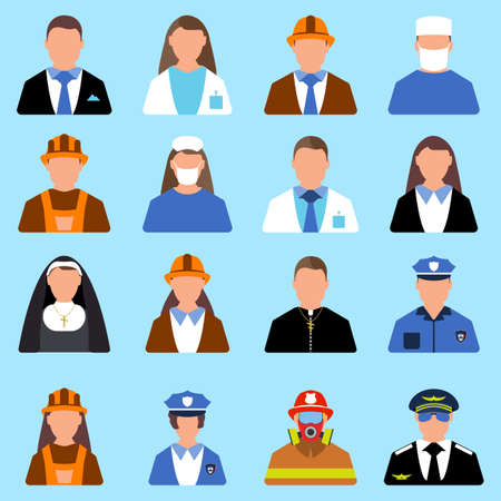 Set of Character Worker icon. Man and Woman label. Cartoon style. Vector Illustration.