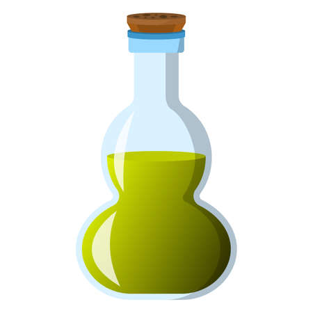 Flask and bottle icon. Label of fantasy potion and elixir. Cartoon style. Vector illustration Illustration