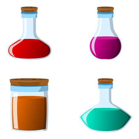 Set of flask and bottle icon. Label of fantasy potion and elixir. Cartoon style. Vector illustration