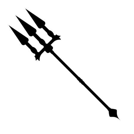 Trident icon. Label of fantasy and medieval weapon. Simple style. Vector illustration icon. Illustration