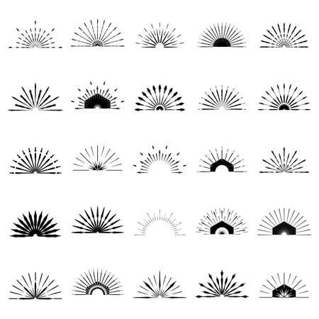 Big set of Retro Sun burst shapes. 25 Half Vintage logo, labels, badges. Vector design element isolated. Minimal black firework burst.