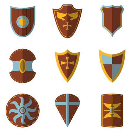 Set of Medieval Shield and Weapon Icon and Label. Flat style. Vector illustration logo. Illustration