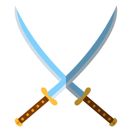 Medieval Sword Icon and Label Flat style Vector illustration Illustration