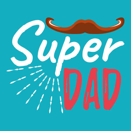 Super Dad banner and giftcard. Fathers Day Poster Sign on Background. Vector Illustration.
