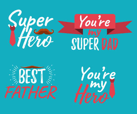 Set of Happy Father's Day banner and giftcard. Best Dad Poster Sign on Background. Vector Illustration.