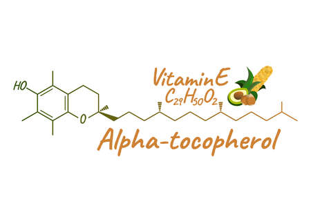Vitamin E with Food Label and Icon. Chemical Formula and Structure Logo. Vector Illustration.