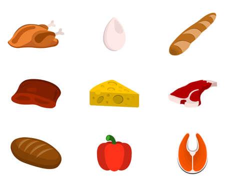 Set of Animal source Foods. Cartoon Vector Illustration.