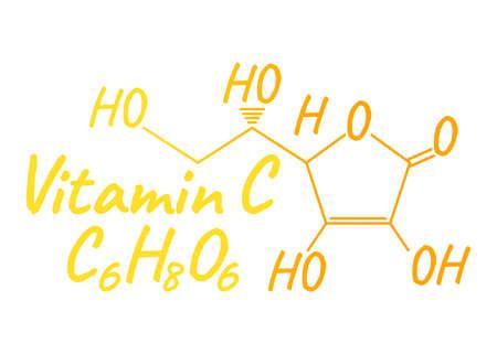 Etichetta e icona di vitamina C. Formula chimica e logo della struttura. Illustrazione vettoriale.