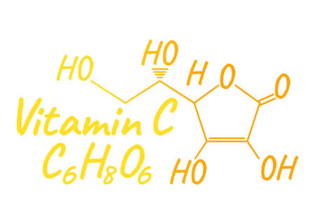 Vitamin C Label and Icon. Chemical Formula and Structure Logo. Vector Illustration.