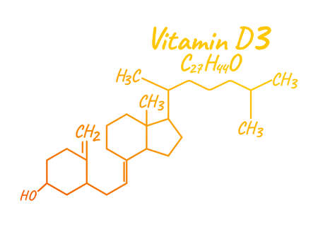 Vitamin D3 Label and Icon. Chemical Formula and Structure Logo. Vector Illustration.
