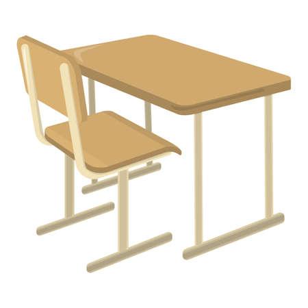 Schultisch. Schulbedarf-Symbol und Logo. Isoliertes Gestaltungselement. Vektor-Cartoon-Illustration. Logo