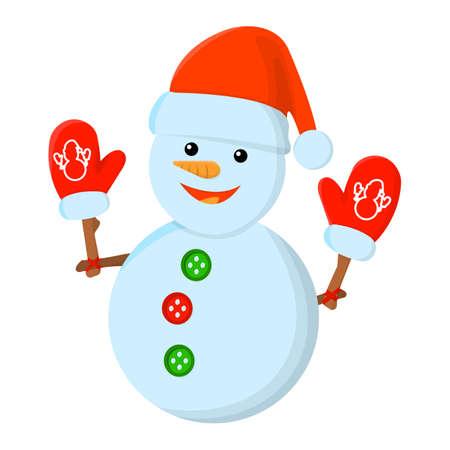 Snowman XMas Isolated icon. Cartoon style. Vector Illustration for Christmas day.
