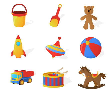 Set of Childrens Toy Isolated icon. Cartoon style. Vector Illustration.