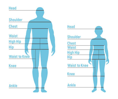 Man and Boy Size Chart. Human front side Silhouette. Isolated on White Background. Vector illustration.