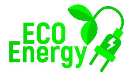 Eco Energy Logo and Icon. Energy label for Web on white background. Flat Vector Illustration. Illustration