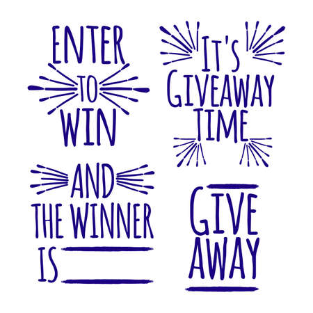 Giveaway Set of banner concept for web, gift card and postcard calligraphy. Template for Greetings, Congratulations, Housewarming posters, Invitations, Photo overlays. Vector illustration. 일러스트