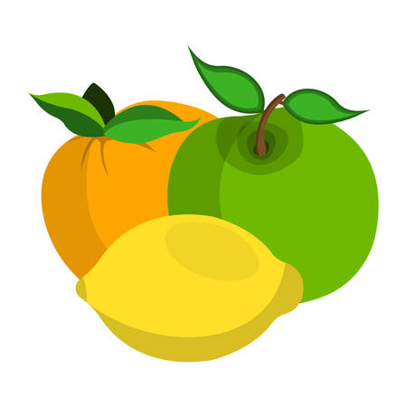 Apple, Lemon, Peach Icon. 일러스트