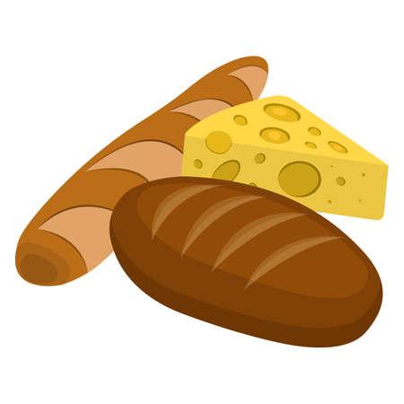 Bread, Cheese Icon. Illustration