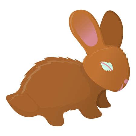 Rabbit icon. Wildlife label on white Background. Cartoon style. Vector Illustration.