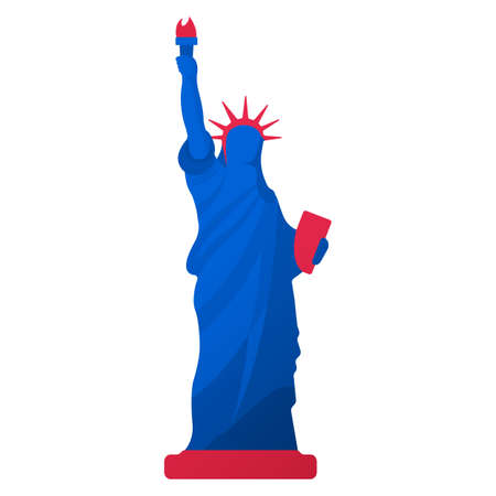 Statue of Liberty Icon. American culture. Happy 4 th July and Independence Day. Cartoon Vector illustration.