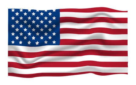 American Flag Icon. Happy 4 th July and Independence Day. Cartoon Vector illustration.