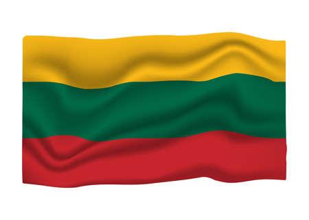 Lithuania Flag Icon. National Flag Banner. Cartoon Vector illustration.