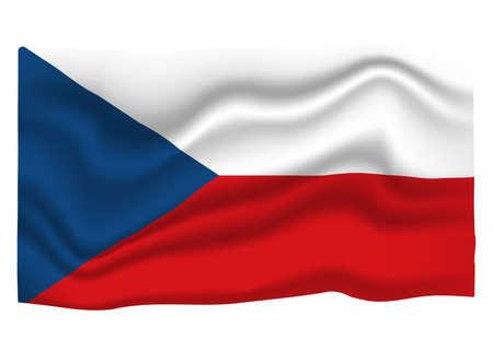 Czechia Flag Icon. National Flag Banner. Cartoon Vector illustration. Ilustrace