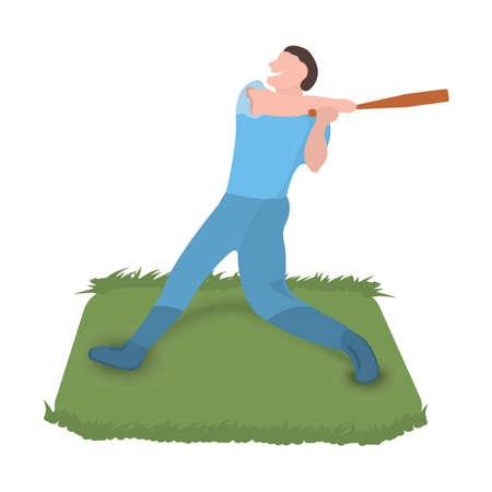 Baseball player icon. Sport label on white Background. Character Cartoon style. Vector Illustration. 向量圖像