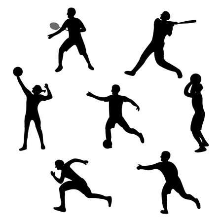 Set di icone del giocatore. Etichetta nera Silhouette Sport su sfondo bianco. Carattere Stile semplice. Illustrazione di vettore.