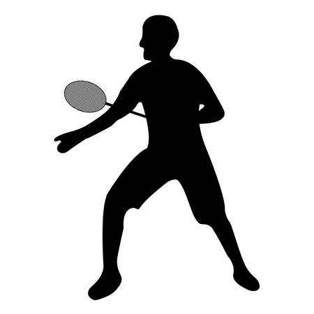 Tennis player icon. Black Silhouette Sport label on white Background. Character Simple style. Vector Illustration.