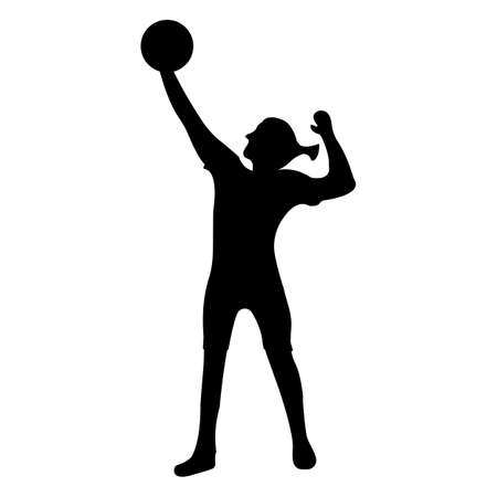Volleyball icon. Black Silhouette Sport label on white Background. Character Simple style. Vector Illustration. Çizim