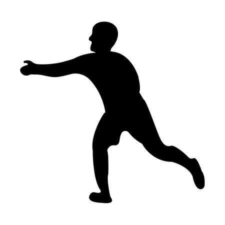 Runner icon. Black Silhouette Sport label on white Background. Character Simple style. Vector Illustration.