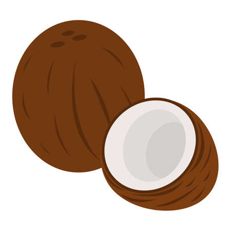 Coconut Icon. Food label,  for Web and Banners. Cartoon Vector Illustration.