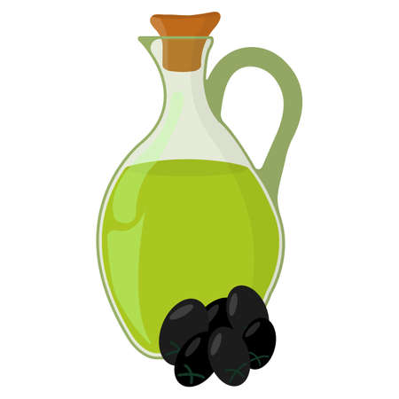 Olive oil Icon. Oil, Fat, Food label,  for Web and Banners. Cartoon Vector Illustration.