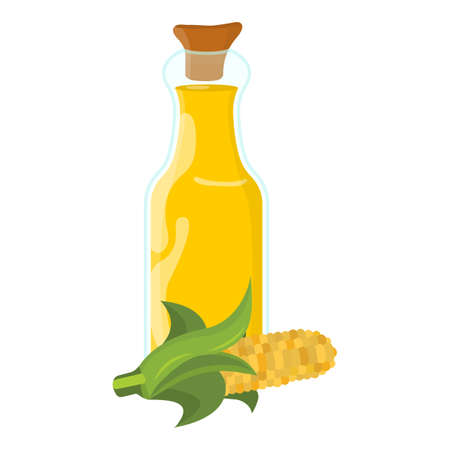 Corn oil Icon. Oil, Fat, Food label, for Web and Banners. Cartoon Vector Illustration. Ilustrace