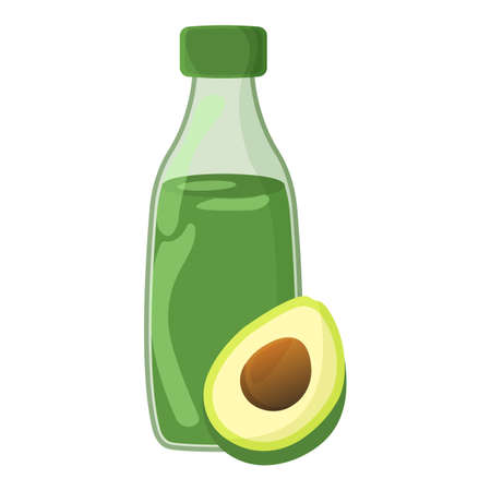 Avocado oil Icon. Oil, Fat, Food label, for Web and Banners. Cartoon Vector Illustration.