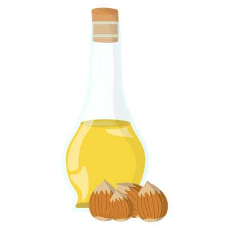 Hazelnut oil Icon. Oil, Fat, Food label, for Web and Banners. Cartoon Vector Illustration.