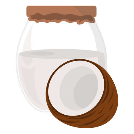 Coconut oil Icon. Oil, Fat, Food label, for Web and Banners. Cartoon Vector Illustration.