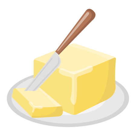 Butter oil Icon. Oil, Fat, Food label, for Web and Banners. Cartoon Vector Illustration.