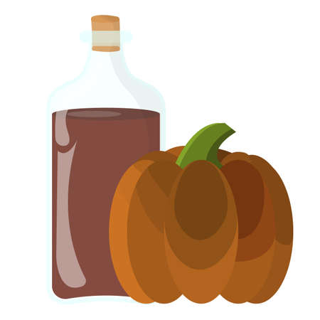 Pumpkin oil Icon. Oil, Fat, Food label, for Web and Banners. Cartoon Vector Illustration. Фото со стока - 130790847