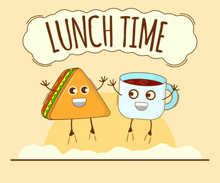 Lunch Time Banner, Tea and Sandwich Icon. Cute Character, Concept Label. Cartoon Vector Illustration.
