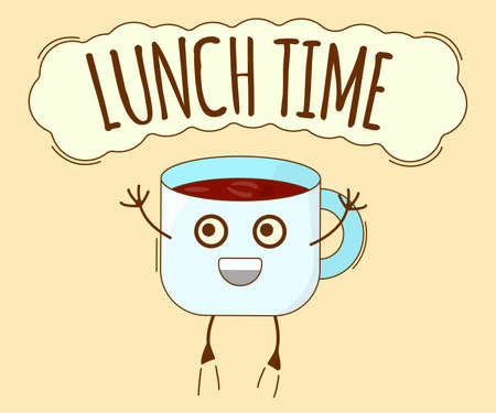 Lunch Time Banner, Tea Icon. Cute Character, Concept Label. Cartoon Vector Illustration.