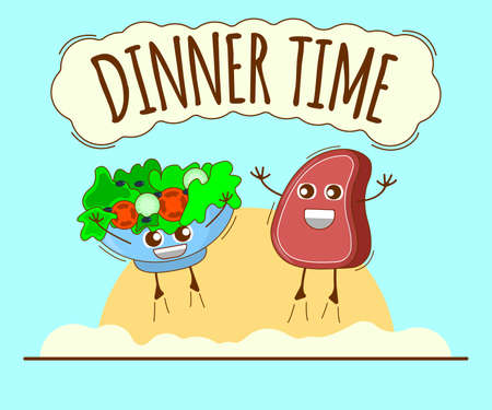 Dinner Time Banner, Meat and Green Bowl Icon. Cute Character, Concept Label. Cartoon Vector Illustration. Ilustração